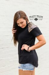 Crazy Train Black Stretchy Top With Leopard Sequins on Shoulder sizes S 2X NWT $30.60
