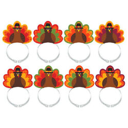 Thanksgiving Turkey Headbands 8 Pack Hats Holiday Party Costume Accessory $10.88
