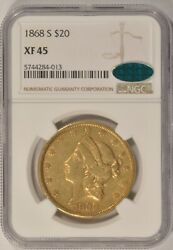 1868 S $20 Gold Double Eagle Coin NGC XF45 CAC San Francisco Mint $2675.00