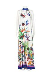 NWT PRETTY YOUNG THING Maxi Dress Small White Blue Pink Floral Gown Keyhole $52.50