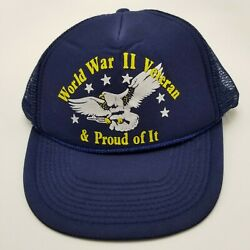 WWII Veteran Proud Of It Hat Cap Blue Adult Mesh Snapback Collectible B5 $8.99