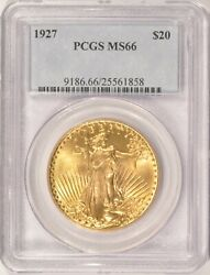 1927 $20 Saint Gaudens Gold Double Eagle Coin PCGS MS66 in an Older Holder $3650.00