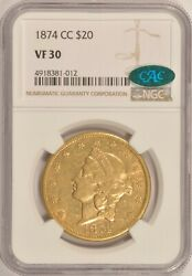 1874 CC $20 Liberty Gold Double Eagle Coin NGC VF30 CAC Sticker Carson City Mint $3640.00