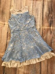 Zunie Special Occasion Dress Pale Blue Lace Girls 8 Dressy Holiday Christmas EUC $12.99