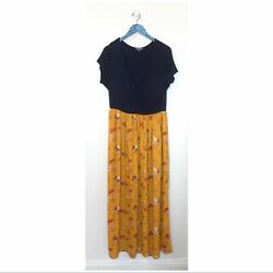 Modcloth Boundless Enjoyment Navy Gold Yellow Floral Maxi Dress size 1X $20.40