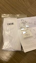 'Men SOCKS WITH #x27;DIOR#x27; EMBROIDERY White Stretch Cotton Knit $200.00