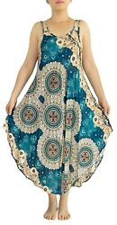 Women#x27;s Boho Mandala Sun Dress Ankle Length w 2x Spaghetti Straps in Turquoise $17.99