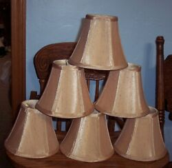 Chandelier Clip On Lamp Shades Set of 6 Soft Bell 3quot;x 6quot;x 5quot; Tan EUC $32.99