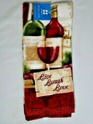 Red Wine Kitchen Towel Live Laugh Love Bottles Glasses Grapes Home Decor NWT $12.33
