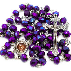 Deep Purple Crystal Beads Rosary Necklace Catholic Holy Soil And Cross Crucifix $9.99