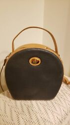 Authentic Vintage Mark Cross Two Tone Leather Round Canteen Crossbody Bag $130.00