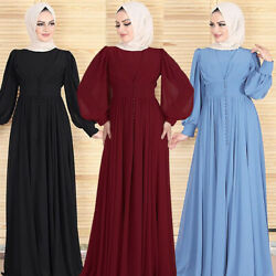 NEW Dubai Abaya Women Chiffon Long Sleeve Maxi Dress Party Gown Ramadan $42.55