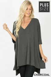 Plus Boho Oversized Charcoal 1 2 Sleeve V Neck High Low Hem Tunic Top 1X 2X 3X $17.99