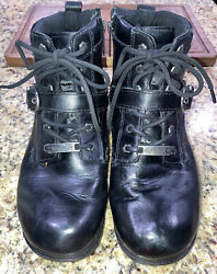 Harley Davidson Womens Tegan Low Cut Lace up Black Leather Biker Boots D84424 8M $35.00