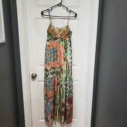 Johnny Was Silk Maxi Dress XS multi color empire waist sleeveless $99.00