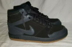 Nike Sz 12 Mens All Black Suede High Top Basketball Tennis Shoes 920 $40.00