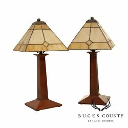 Stickley Mission Collection Pair Small Lamps Art Deco Shades $995.00