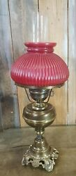 Vintage Lamp Hurricane Lamp Bronze Electric Red Milk Glass Shade $59.95