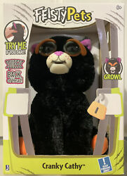 Feisty Pets Black Cat Cranky Cathy Plush Squeeze Back of Head For a Growl Face $18.99