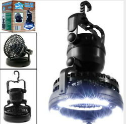 Portable LED Camping Lantern with Ceiling Fan 2 In1 Outdoor Emergency Tent Light $16.14