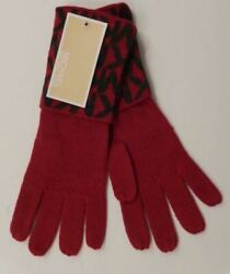 GENUINE MICHAEL KORS WOMENS GLOVES PINK amp; GRAY ACRYLIC SIGNATURE LOGO MSRP $42 $16.99