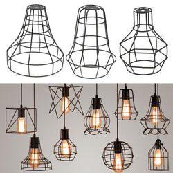 3 Pcs Iron Wire Cage Hanging Lamp Shade Pendant Light Chandelier Shades $26.73