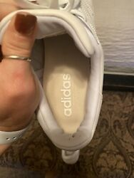 White Leather Adidas Tennis Sneakers Old School Adidas Shoes Women#x27;s Size 10 $30.00