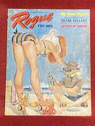 Rogue For Men Magazine August 1956 Bettie Page Frank Sinatra $32.15