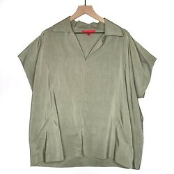 Shamask Olive Boxy Blouse Short Sleeve Sz 3 16 18 20 Plus Boho Lagenlook 0499 $89.99