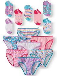 Wonder Nation Girls#x27; Bikini Panties Socks 7 Pack 100% Cotton Underwear 16 $9.98