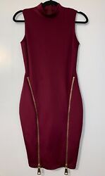 Women#x27;s Burgundy Cocktail Dress with 2 Front Zippers Size Small No Tags $9.00