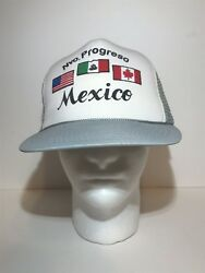 Nvo Progreso Mexico Mesh Trucker Snapback Hat Adjustable Country Flags Gray $9.97