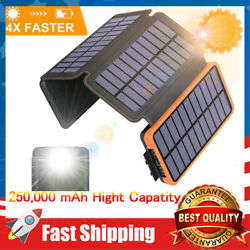 Waterproof Solar Power Bank 250000mAh External Battery Charger US with 4 Panels $39.99