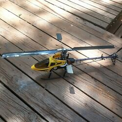 trex 450 clone helicopter kit carbon fiber main blades yellow canopy w 3 servos $129.95