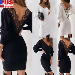 WOMEN#x27;S LONG SLEEVE BACKLESS BODYCON LACE MINI DRESS PARTY EVENING BALL GOWN US $15.79