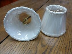 Sconce CHANDELIER Clip On LAMP SHADE WHITE TRIM lined New old stock 1 shade 5quot; $9.24