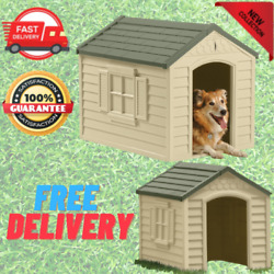 Dog Pet House XXL Outdoor Large All Weather Durable Shelter Kennel Cage Vinyl Do $89.99