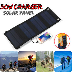 US 30W 5V USB Solar Panel 4 Folding Power Bank Outdoor Camping Battery Charger $25.70