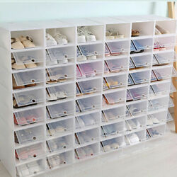 12pcs Foldable Shoe Box Clear Storage Case Sneaker Container Organizer Stackable $30.99