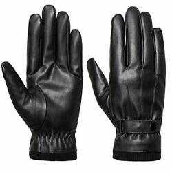 Men#x27;s Winter Black Gloves Leather Touchscreen Snap Closure Cycling Glove Outdoo $14.15