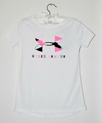 NWT Under Armour Big Girls White quot;UAquot; Pink Logo Loose Fit SS T Shirt Youth XS $14.00