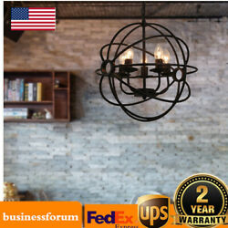 Orb Chandelier Globe Lamp Round Hanging Fixture Cage Ceiling Pendant Light USA $53.00