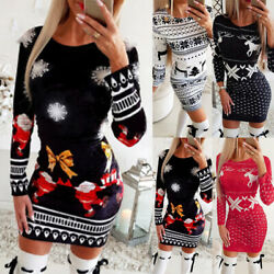 Women Christmas Long Sleeve Bodycon Dress Ladies Xmas Sweater Party Mini Dress $18.09