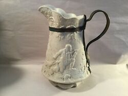 11 RARE Vintage White Farmhouse Pitcher Horse Dog Hunters Hunting Very USED $32.50