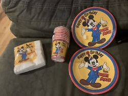 Lot Of Vintage Beach Disney Mickey Mouse Birthday Party Plates Napkins Cups $29.99