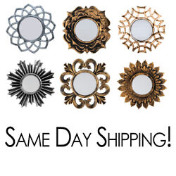 Wall Mirror with Decorative Frame 9.5x9.5 inch Small Decor Gold Bronze amp; Silver $9.47