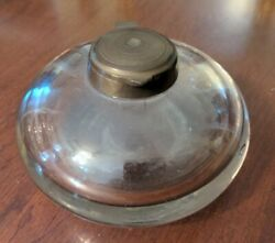 Antique Glass Inkwell Free Blown Brass Cap 19th Century American $34.00