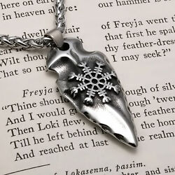 Viking Arrow Head Helm of Awe Stainless Steel Pendant Necklace $23.99