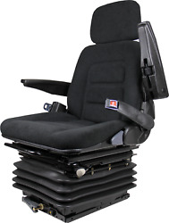Tractor Backhoe Seat Fully Adjustable with Suspension and Swivel Black Fabric $499.99
