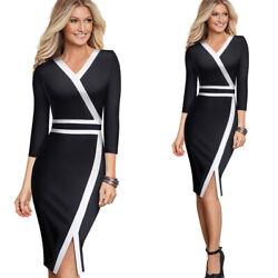 3 4 Sleeve Colorblock Party Cocktail Wear To Work Business Church Dress Women#x27;s $21.51